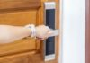 Woman Holding Handle Smart Digital Door Lock Open Close Roor